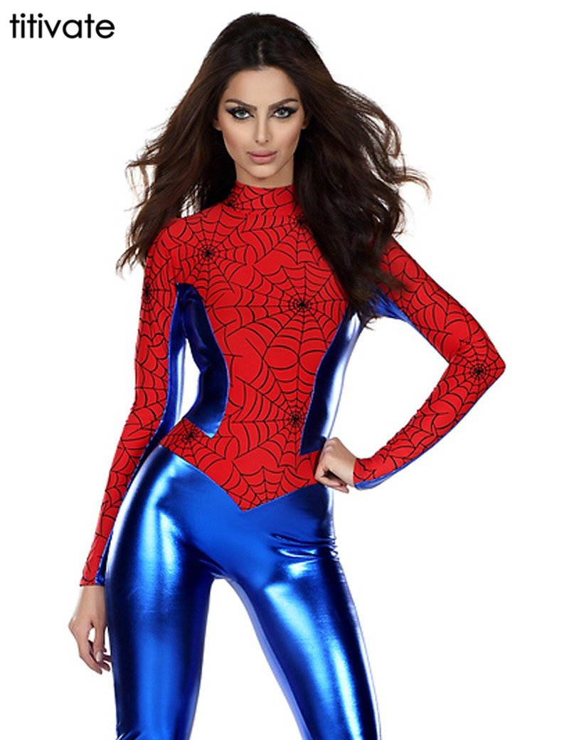 TITIVATE Halloween Spider Man Costumes Super Hero Tight Bodysuit Jumpsuits In Red&Blue Wet Look Web Crawler Party Adult Costume