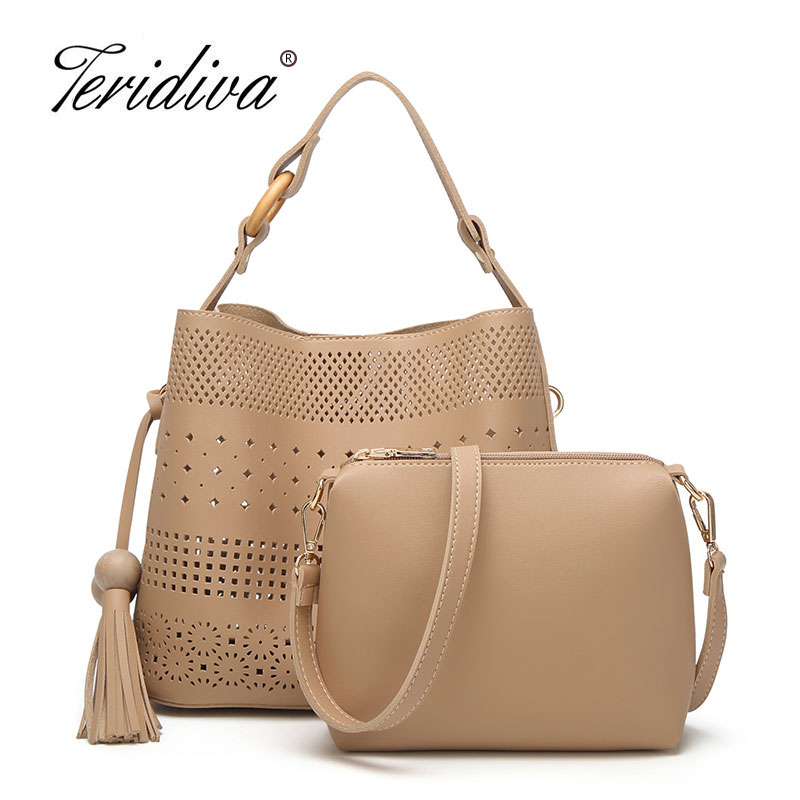 Teridiva Luxury Handbags Women Bags Designer Hollow Out Shoulder Bag Tassel Crossbody Composite Tote Bag for Female Purse Bucket