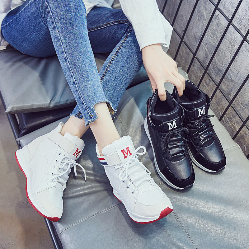 Womens Sneakers Shoes 2019 Fashion New Sports Shoes with Increased Sports Platform Casual Leather Shoes Zapatos De Mujer