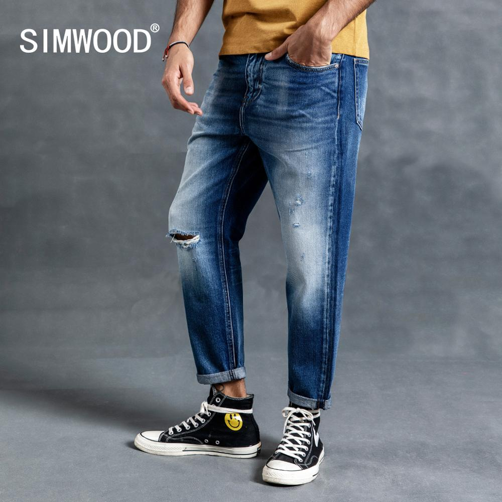 SIMWOOD 2019 Autumn Winter New Hole Ripped Jeans Men Straight Ankle-Length Denim Jeans Fashion Cotton Hip Hop Streetwear 190018
