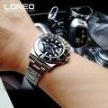 Neue LOREO Wasser Geist Serie Klassische Blau Zifferblatt Luxus Männer Automatische Uhren Edelstahl 200 m Wasserdichte Mechanische Uhr
