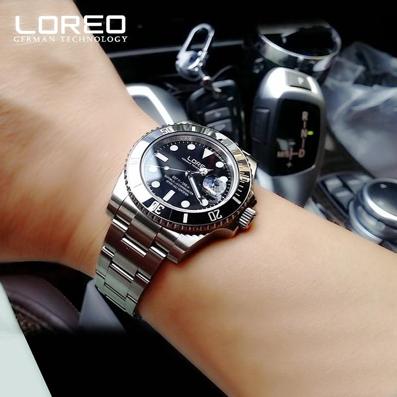 Nowy LOREO wody duch serii klasyczny niebieski Dial luksusowe automatyczne zegarki męskie ze stali nierdzewnej 200 m wodoodporny zegarek mechaniczny zegarek w Zegarki mechaniczne od Zegarki na  Grupa 1