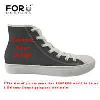 FORUDESIGNS Custom Images or Logo Men's Vulcanize Shoes Casual Man High Top Canvas Shoes Students Boy Comfortable Flats Sneakers