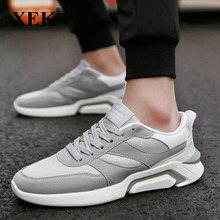 XEK 2018 Hot sale fashion Brand Men Lace Up Comfortable Canvas Shoes For Male Black Gray Plus Size ZLL179