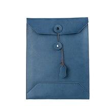 ブルー A4 革オフィスドキュメントケース文書のための牛革オーガナイザーフォルダ 27*37 センチメートル