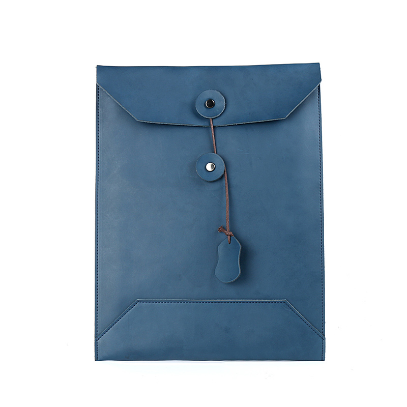 Blue A4 Leather Office Folder For Documents A Case For Documents Cow Leather File Organizer Folders 27*37 Cm