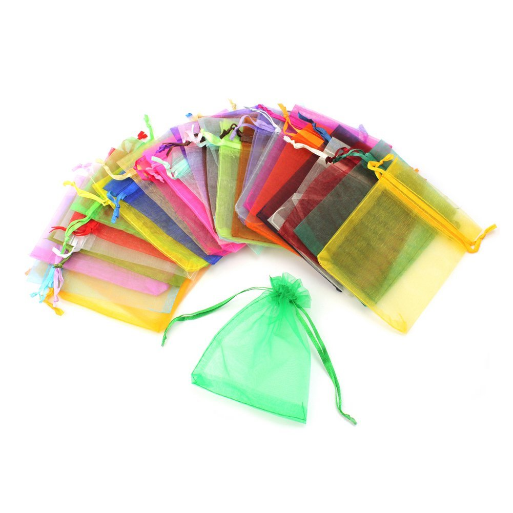 100 Pcs Gift Bags For Jewelry In Various Color, From Organza ( 12*9CM)