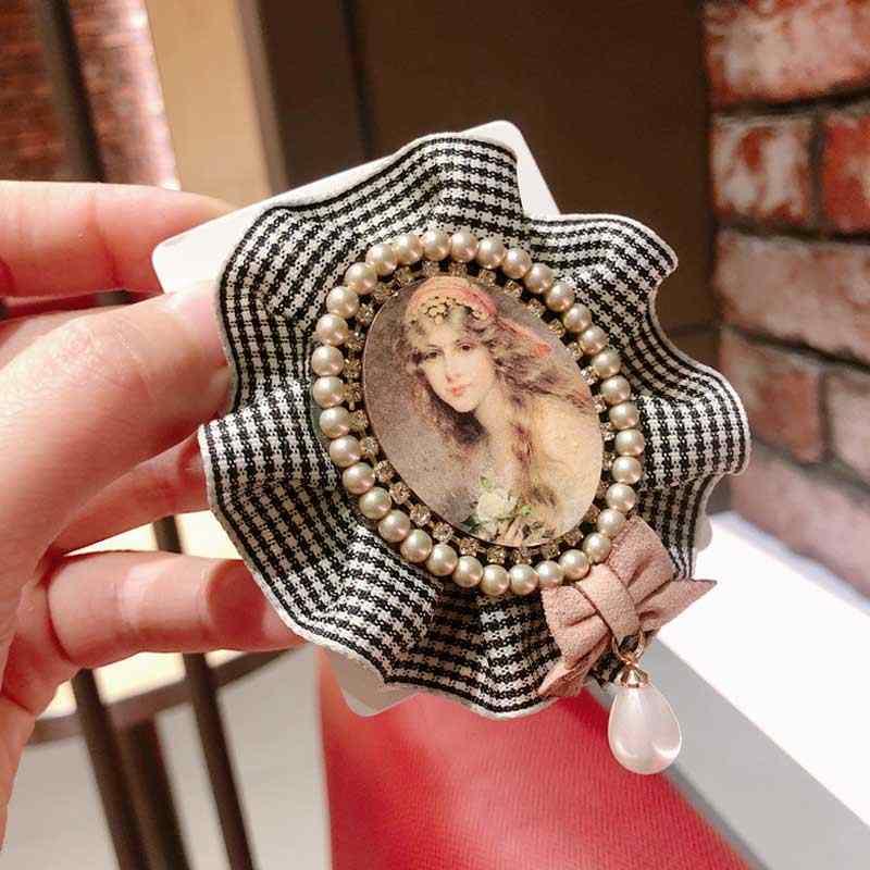 Alla moda Visone Dei Capelli Perline Spille Rotonda Spille Nappa Risvolto Spille Numero 5 di Tendenza Per La Donna Spilla Gioielli di Lusso