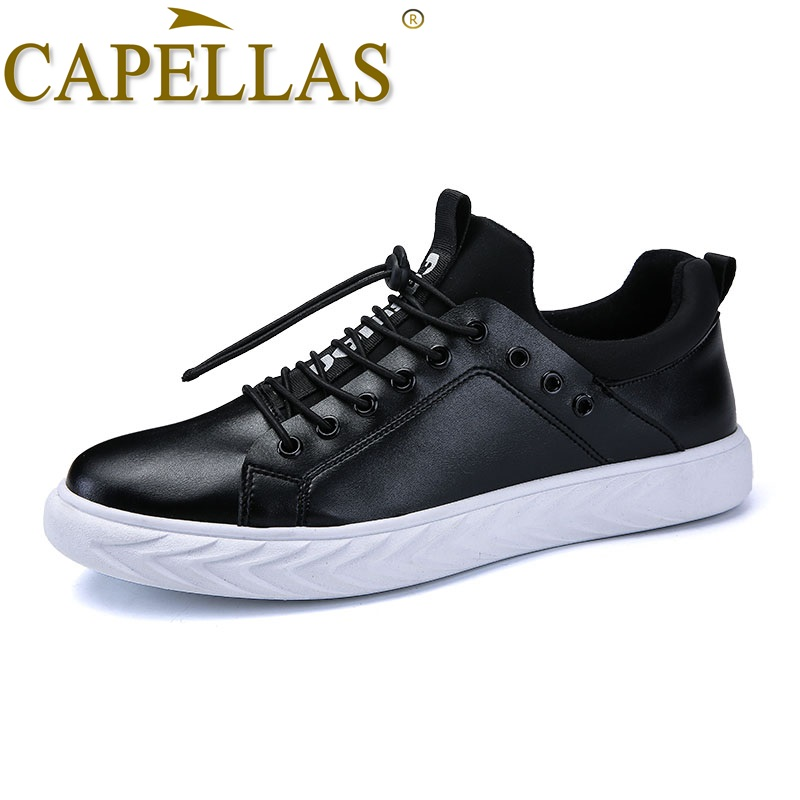CAPELLAS Men`s Leather Shoes Mens Fashion Casual Shoes Breathable Sport Designer Men Lea ...
