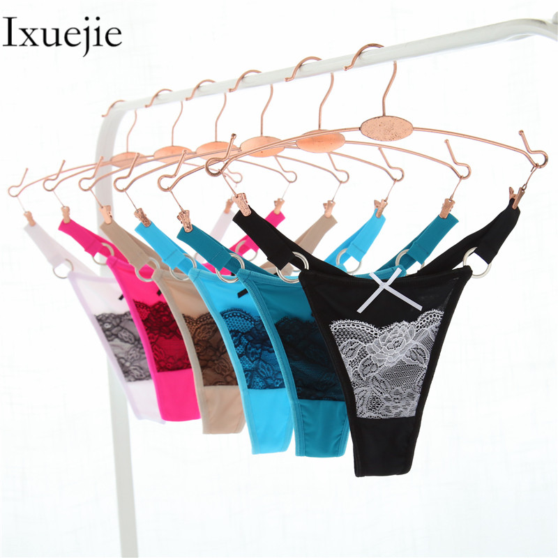 3pcs/lot M L XL T Back Nylon Women Underwar Sexy Lace Panties Ring G String Briefs