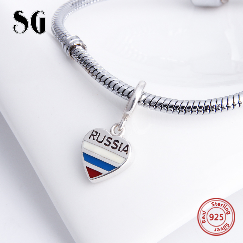 925 Sterling Silver Love Heart shape Beads Russia Flag Charms with colorful enamel Fit Authentic pandora Bracelet Jewelry Gifts in Beads from Jewelry Accessories