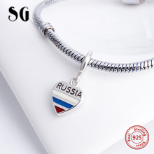 925 Sterling Silver Love Heart shape Beads Russia Flag Charms with colorful enamel Fit Authentic pandora Bracelet Jewelry Gifts fit authentic pandora bracelet jewelry 925 sterling silver beads bound by love just married charms beads luxury love gifts