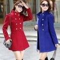 Бесплатная доставка / горячая распродажа женская осень и зима мода шерстяное пальто, Корейский тонкий шить двубортный шерстяное пальто
