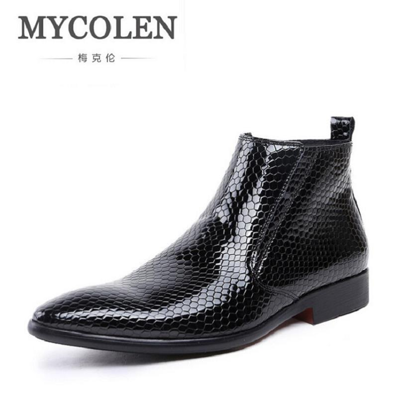 MYCOLEN Mens Ankle Boots Stone Pattern Leather Chelsea Boots Comfortable Casual Fall Shoes Classic Men Winter Boots zapatosMYCOLEN Mens Ankle Boots Stone Pattern Leather Chelsea Boots Comfortable Casual Fall Shoes Classic Men Winter Boots zapatos