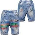 3928 SUAVE muchachos frescos pantalones vaqueros del verano de los pantalones cortos de los capris del dril de algodón ocasional medio-largo 70% niños pantalones vaqueros de los niños pantalones cortos