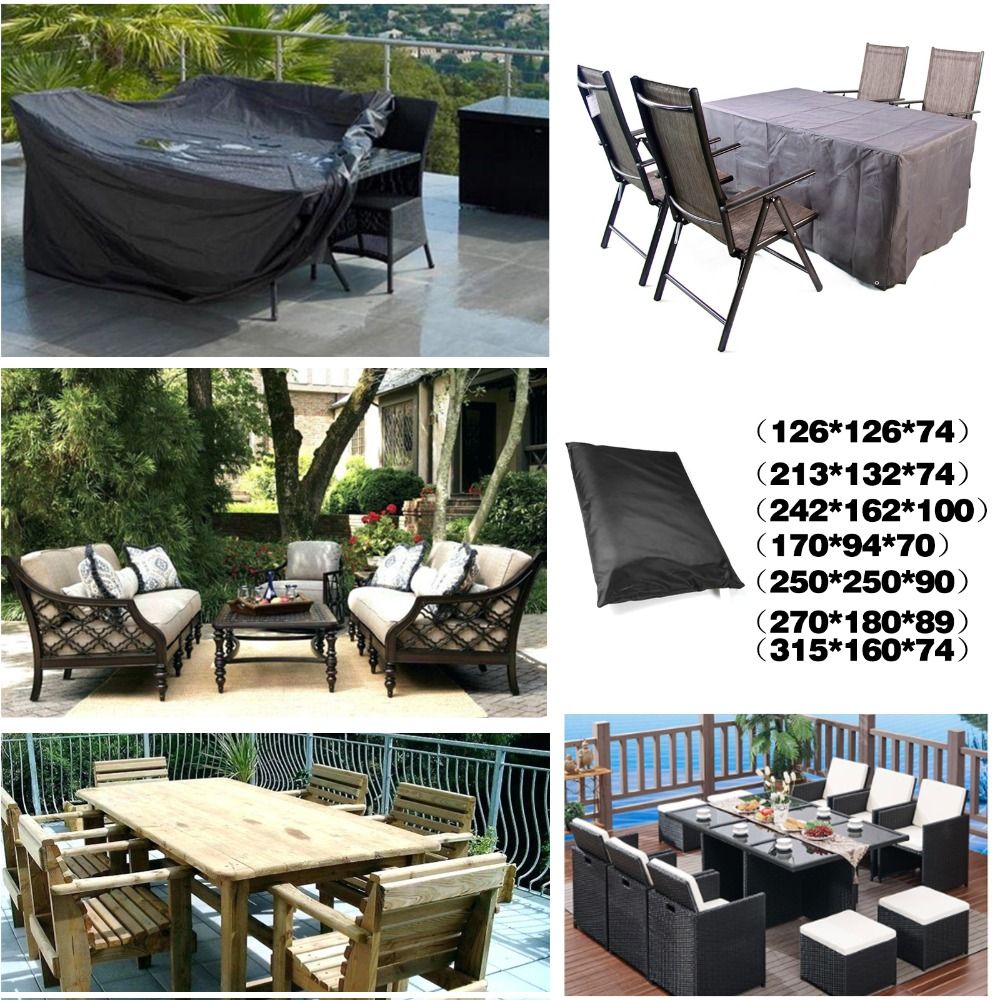 Black Square Waterproof Outdoor Patio Garden Furniture Covers Rain Snow Chair covers for Sofa Table Chair Dust Proof Cover in All Purpose Covers from Home Garden