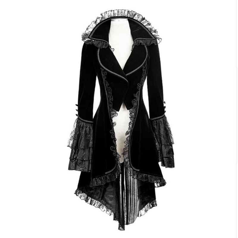 Punk Gothic Forked Tail Women Coat Black Winter Slim Fit Jackets Goth Long Sleeve Turn-down collar Lace Coats For Female 2016