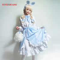 VEVEFHUANG 2018 Hot Game Miracle Nikki White Rabbit Candies Maid Lolita Dress Cosplay Costume For Women Halloween
