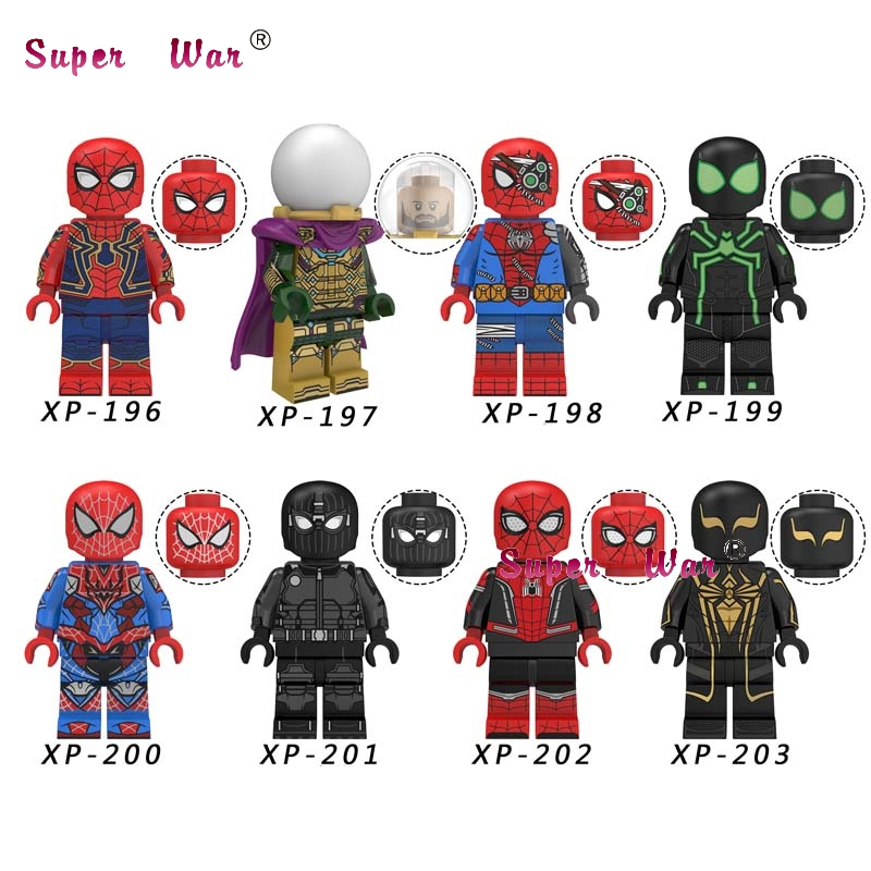 Single Marvel  Spider Man Far From Home SpiderMan Mysterio Noir Gwenom Nick Furry Mary Jane Building Blocks Kids Toys