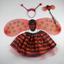 Tamaño libre de la muchacha de la mariquita falda trajes de fiesta de carnaval de disfraces de halloween para niños chicas insect kits(China (Mainland))