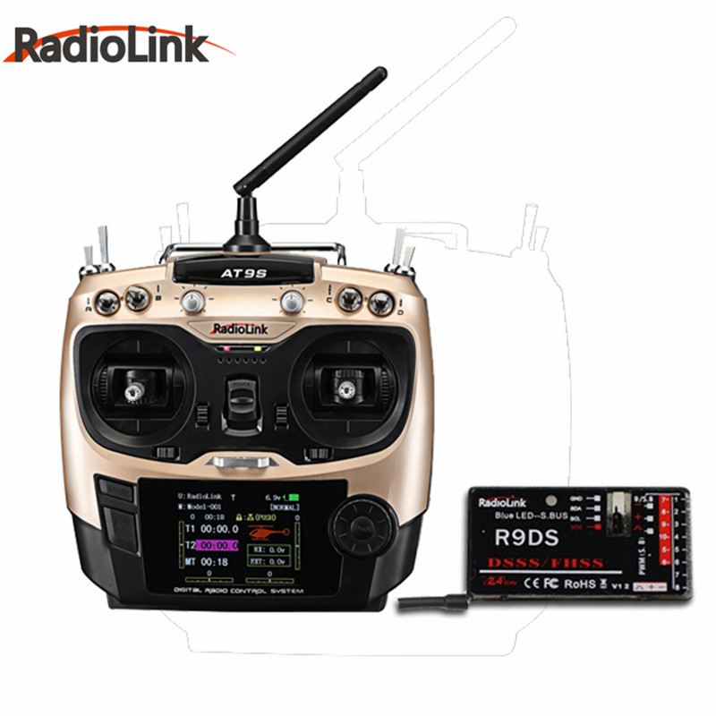 High Quality RadioLink AT9S Mode 2 2.4GHz 10CH Upgrade Transmitter with R9DS DSSS&FHSS Receiver For Racing Drone Quadcopter 100% original radiolink r9ds 2 4g 9ch dsss