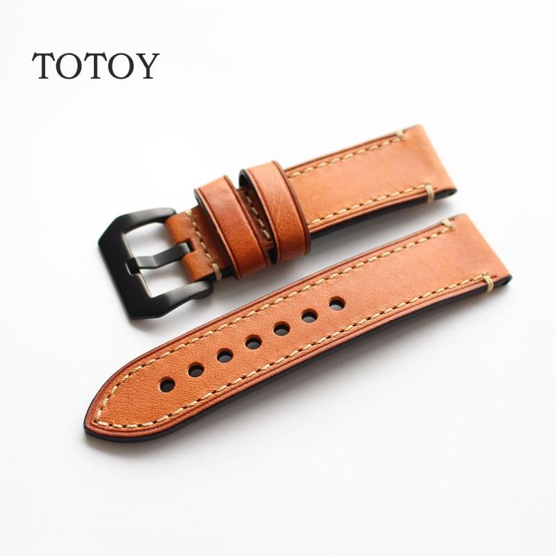Prix pour TOTOY Italien Brun Bracelet En Cuir De Vachette, main 20 MM/22 MM/23 MM/24 MM/26 MM Rétro En Cuir Wacthabdn, mouvement Rétro Version