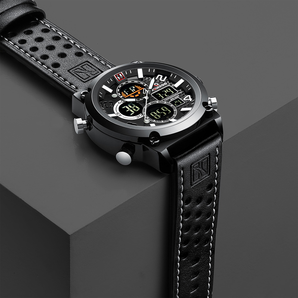 Watch Men Waterproof Relogio Masculino Luxury Black Mens Watches Leather Sports Digital Watches Quartz Watch Men Male Clock 2019