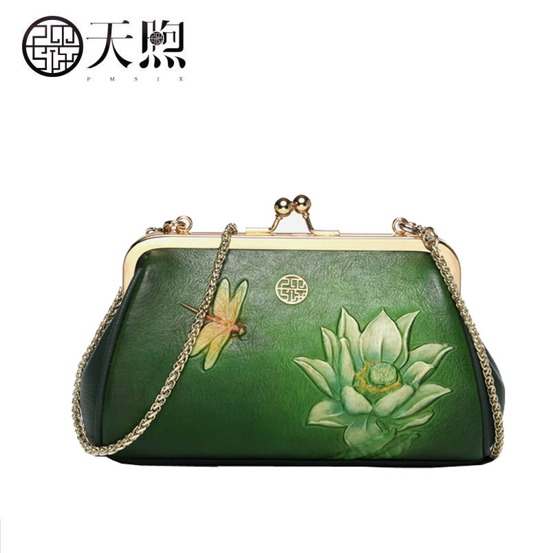Pmsix 2020 New Superior Cowhide Women Genuine Leather bag fashion Chain leather women bag Simple leather shoulder Crossbody bag