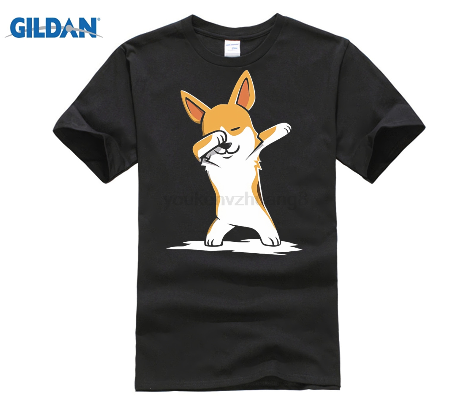HOT deals New Spring High-Elastic Cotton New Funny Brand Clothing Corgi Cute Dabbing T-Shirt Funny Dab Dance Gift Tee Shirt image
