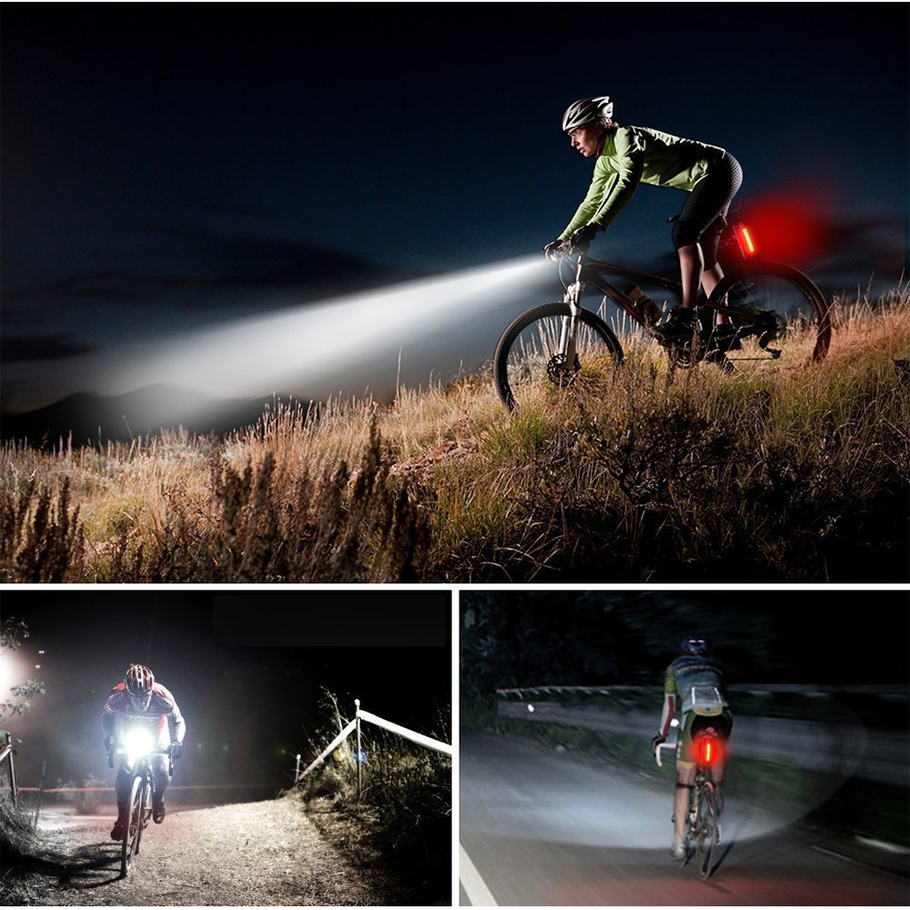 Купить с кэшбэком USB Rechargeable LED Flashlight Bicycle Light Bike Lamp Front LED Headlight For night riding, fishing, hunting, camping, etc.