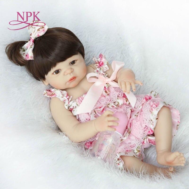 Shipping from Brazil Bebes Reborn doll 57CM Full Body silicone Girl doll Reborn Baby Bath Toy Lifelike Newborn Bonecas Menina(China)