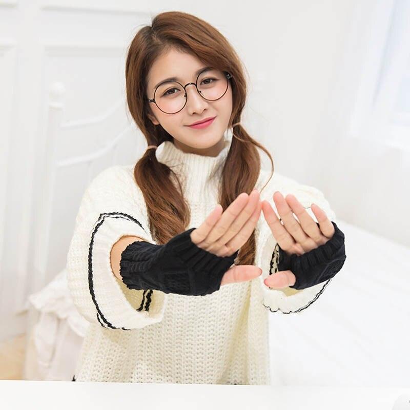 Hot Selling 1Pair Women Winter Spring Fingerless Gloves Warmer Long Knitted Arm Gloves -B5