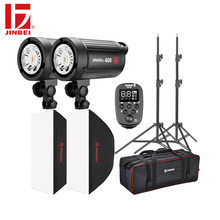 JINBEI SparkIII 800W Flash Kit 2*400W Studio Strobe Room Photo Photography Lighting 2 Heads with Softbox Trigger Light Stand bag photography studio soft box flash lighting kits 900w 220v storbe light softbox light stand umbrella trigger receiver set