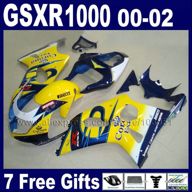 US $368 0 |7gifts OEM factory Fairings kits for SUZUKI K2 2002 GSXR 1000  2001 GSXR1000 01 00 02 2001 GSX R1000 blue corona body fairing kit-in  Covers