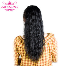 Aliballad Natural Wavy Drawstring Ponytail Human Hair Brazilian Afro Clip In Extensions Non Remy Natural Color 2 Combs(China)