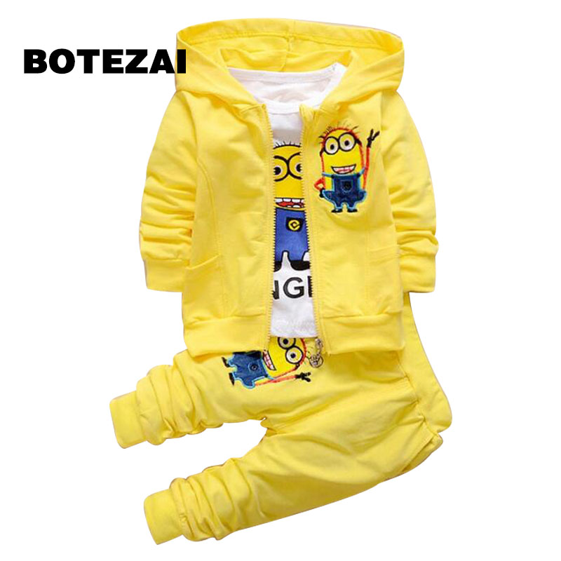 Boys Clothing Set Despicable Me Cotton Minion Clothing Sets Unisex Sport suit 3pcs Coat+T shirt+pants baby boys girls clothes newborn baby boys clothing set spring autumn toddler cotton sports suit for bebe boys infant coat pants t shirt 3pcs clothes