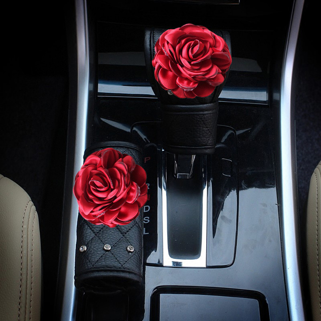 2Pcs/Set Crystal Red Rose Flower Car Handbrake Cover Gear Shifter Knob Cover Rhinestone Leather Auto Car Accessories for Girls