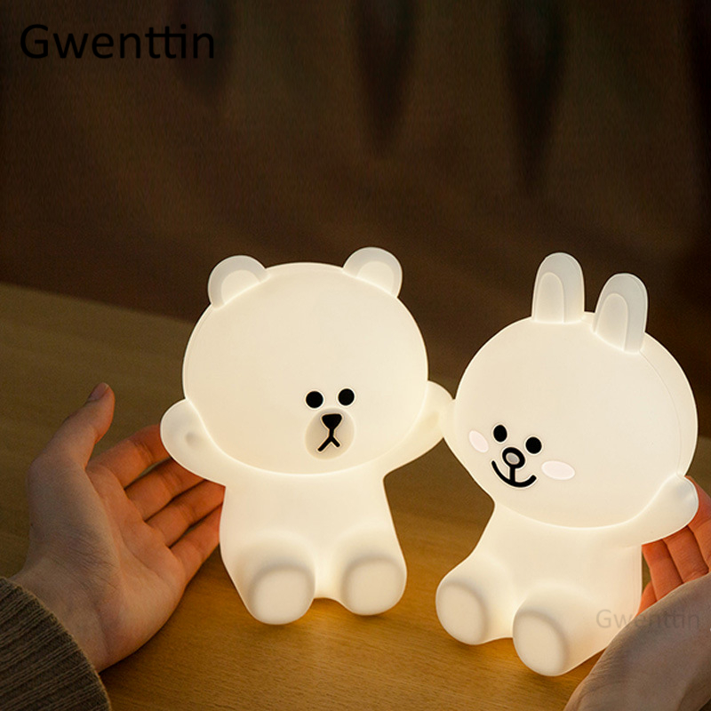 Line Friends Bear Cony Rabbit Night Light For Baby Kids Bedroom Bedside Lamp LED USB Touch Charge Silicone Luminaira Desk Lamps