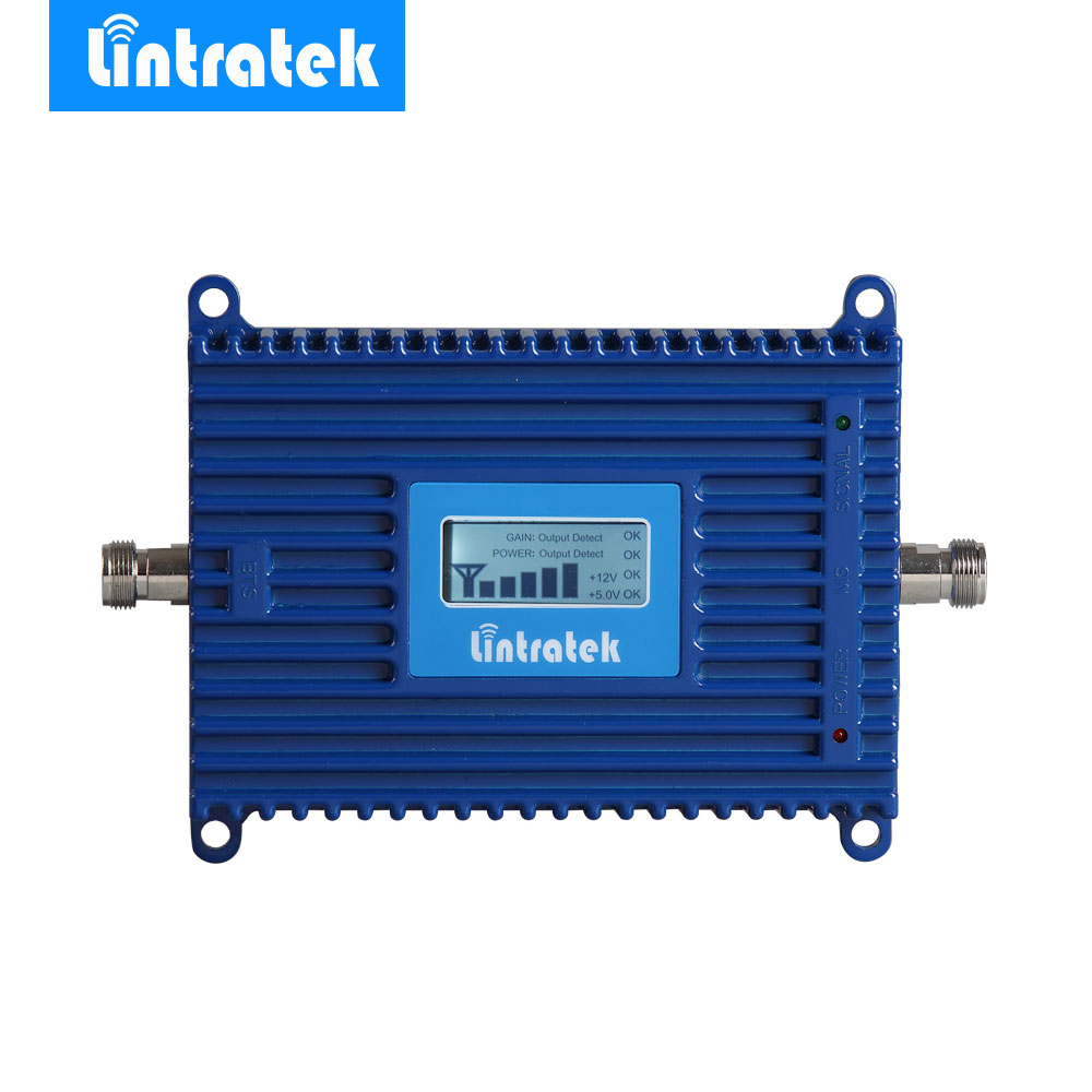 Lintratek 4G LTE Ampli Repeater LCD 4G 2600MHz Signal Booster 70dB Gain 2600 4G LTE Amplifier