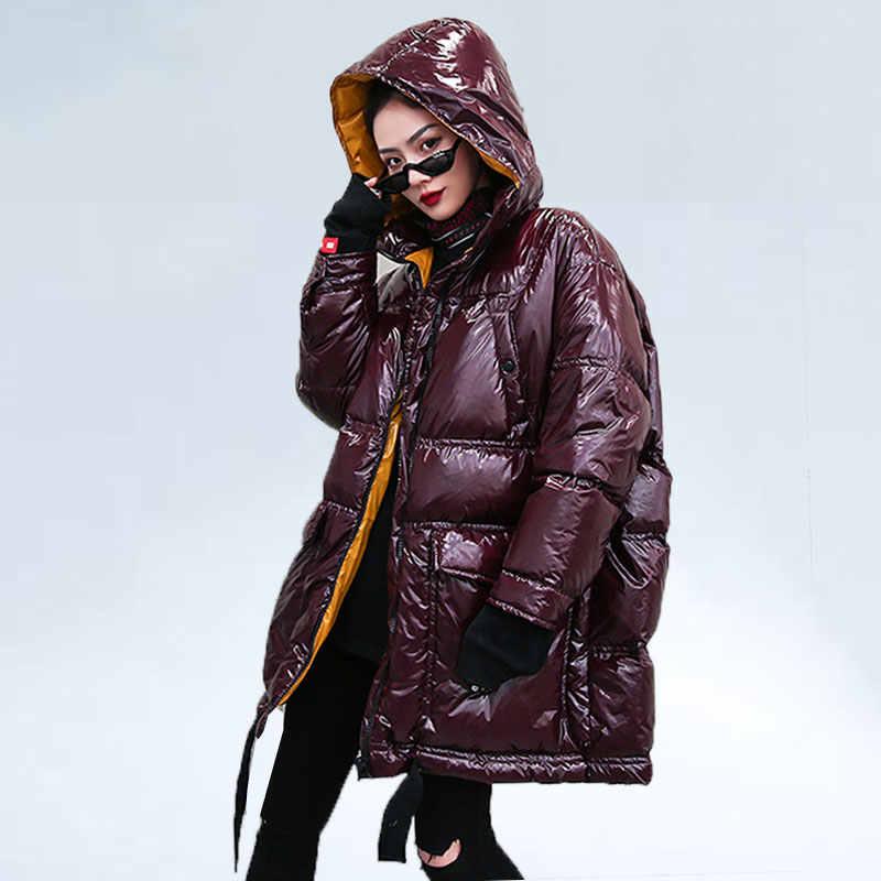 Oversize Unten Jacke frauen Streetwear 2019 Warme Parka