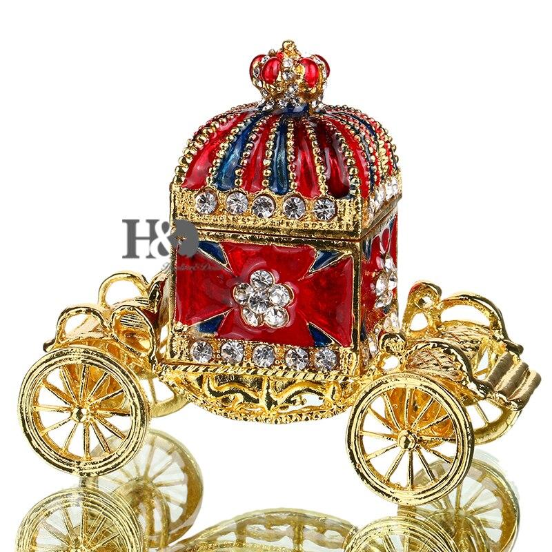 H & D 3 ''con bisagras baratija patrones pintados a mano joyero decorado Bejeweled colección Corona el carro caja de la baratija)