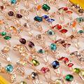 50 Unids/lote Plateado Plata Al Por Mayor Coloridos Mezclados CZ Mujeres Anillos Cristalinos Elegantes Del Partido Boda de la cinta del washi de la Joyería de Graneles lote