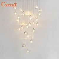 Креативный светодиодный Кристалл Люстра ступенчатой формы длинная люстра комнатный светильник вилла многоступенчатая люстра дуплекс зал
