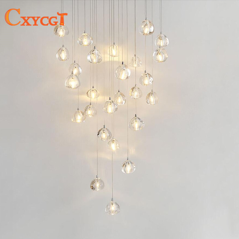 Long Dining Room Chandeliers: Creative LED Crystal Chandelier Staircase Long Chandelier