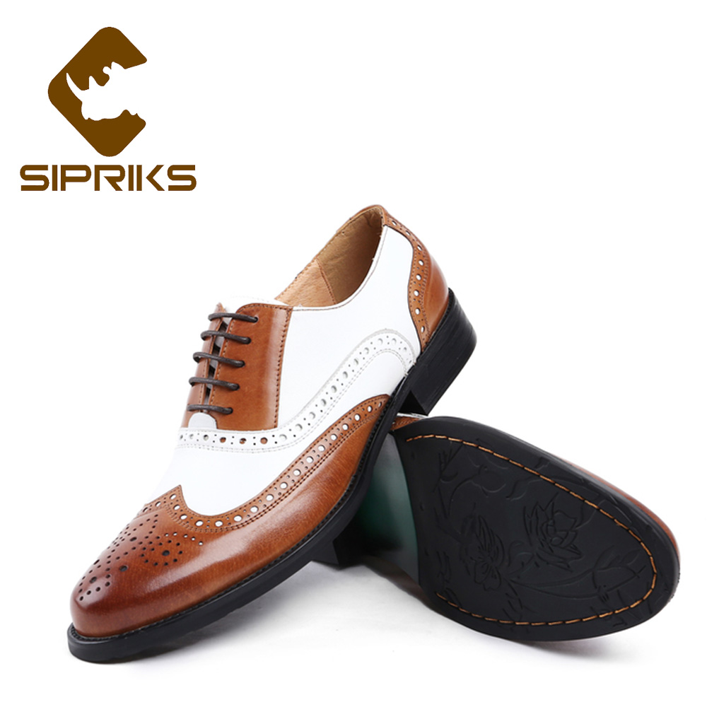 Sipriks Mens Black White Wingtip Dress Shoes Spectator Oxfords Men Shoes Brown White Euro 44 Business Gents Suits Brogue Shoes