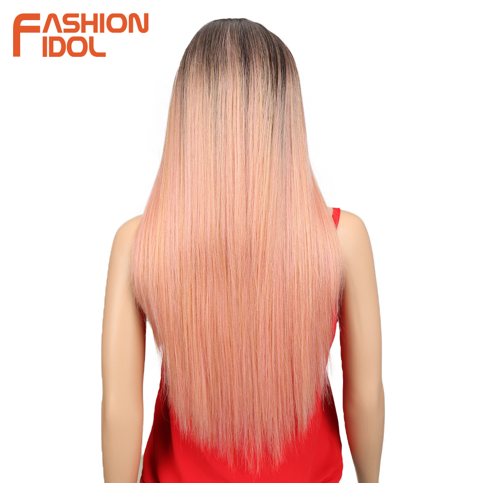 Image 2 - FASHION IDOL Synthetic Hair Lace Front Wig 26 Inch Long Straight Wig Ombre Black Pink Cosplay Wig Heat Resistant Synthetic Hair-in Synthetic Lace Wigs from Hair Extensions & Wigs