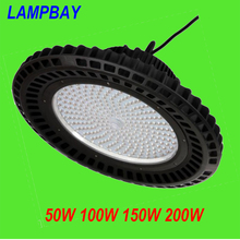 (2 Pack) Free Shipping LED High Bay Light 50W/100W/150W/200W UFO shaped Chain Pendant Lamp Industrial warehouse Lights