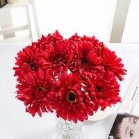 ZUCZUG 10 pçs/lote Gerbera Flores Artificiais Lifelike Girassol Verde Caules Casamento Casa Decoração Flores Organizando Suprimentos