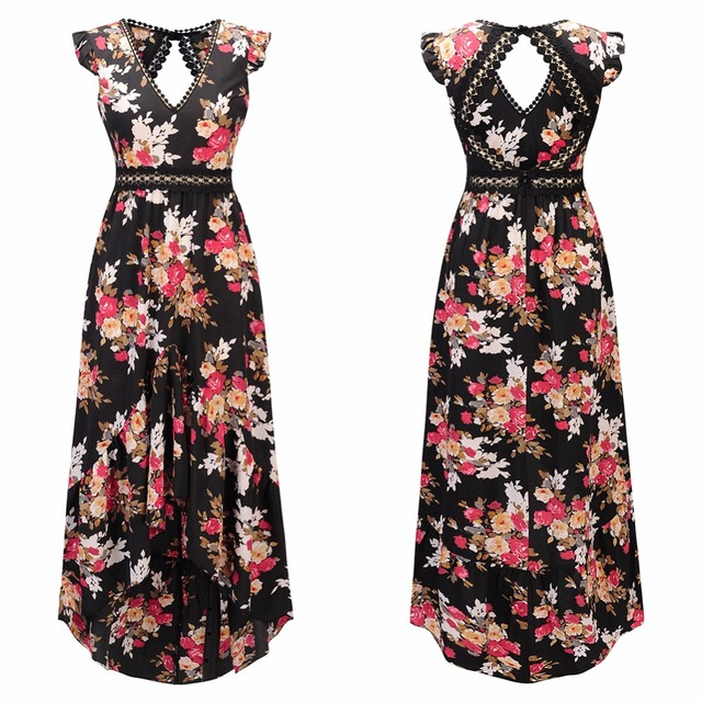 $ US $6.40 Elegant flower print lace maxi dress vestidos Sexy deep V neck backless summer dress Women boho asymmetrical long dress
