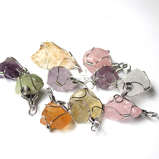 Wire Wrapped Natural Drusy Crystal Stone Raw Purple Pink Citrine ...